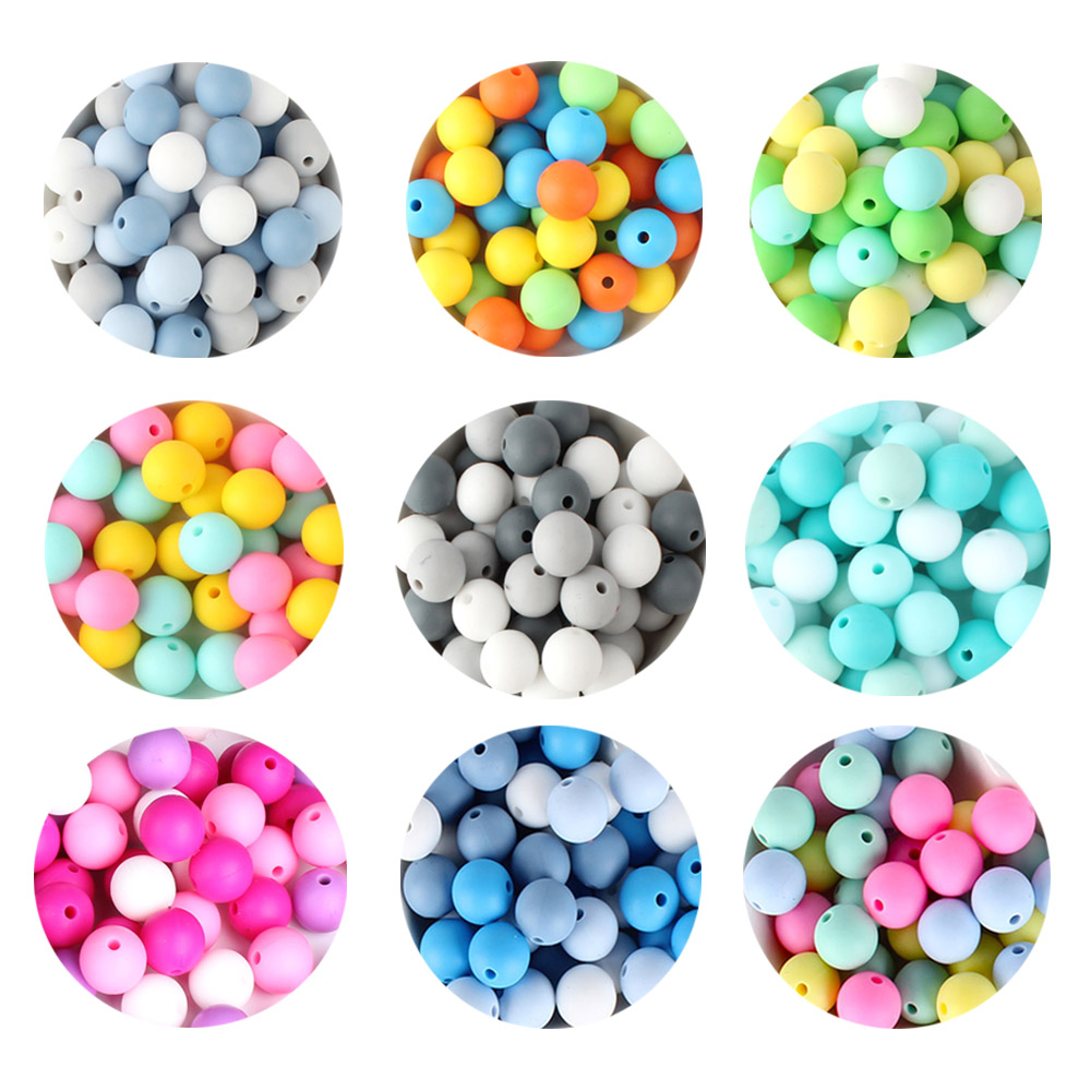 100pcs Round Silicone Beads 12mm BPA Free Baby Chewing Beads For DIY Pacifier Chain Silicone Teether Nursing Toy Accessories
