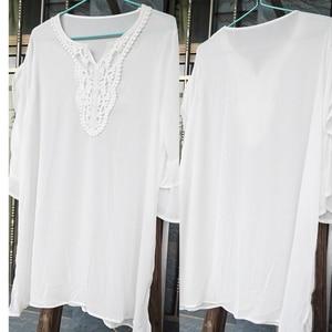 Image 2 - New Bikini cover up White Chiffon Lace Beach Tunic Sarong Swimsuit Cover up 2020 Pareos de Playa Mujer Women Swimwear Cover up