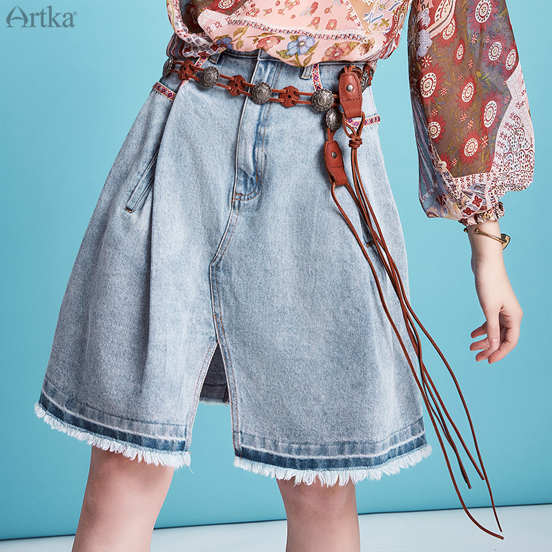 ARTKA 2020 Spring Summer New Women Skirt Vintage Indie Folk A-line Denim Skirt Fashion Loose Split Skirts Women QN20002C