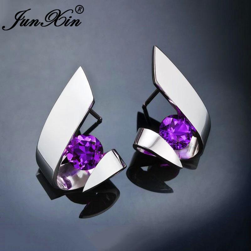 Irregular Purple Blue White Yellow Crystal Geometric Stud Earrings For Women White Gold Round Zircon Stone Earring Jewelry