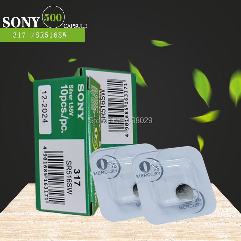 500pcs Sony 100% Original 317 <font><b>SR516SW</b></font> SR516 1.55V Silver Oxide Watch Battery MADE IN JAPAN Single grain packing image