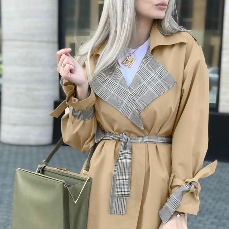 Turmeric Elegant   trench   Khaki coat autumn winter coat women Casual plaid long overcoats Vintage stitching outwear Office coat