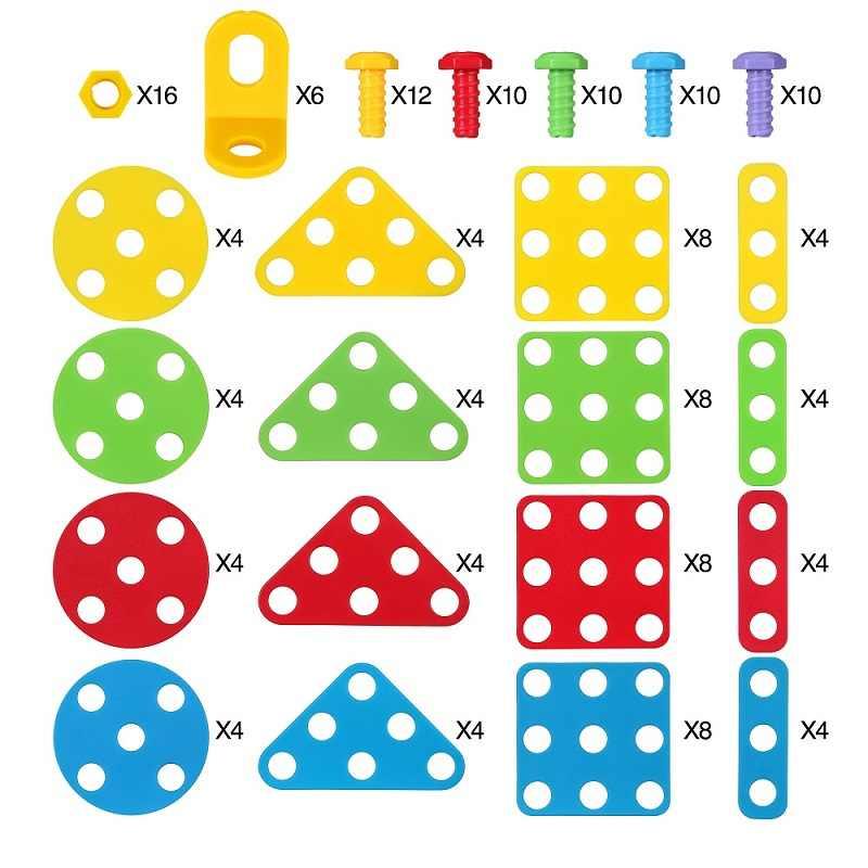 193 Pcs Mainan Anak Anak Bor Listrik Puzzle Kacang Pembongkaran Sekrup Group Mainan Dirakit Blok Set Mainan untuk Anak Laki-laki Anak-anak Bangunan mainan