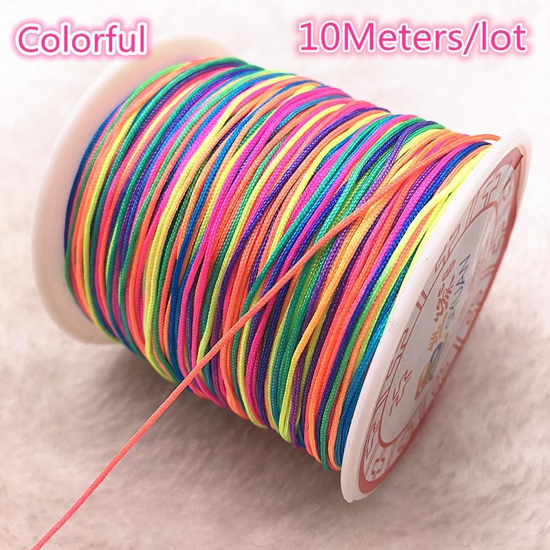 10Meters/lot 0.8/1.0mm Multicolor Nylon Cord Thread Chinese Knot Macrame Cord Bracelet Braided String DIY Tassels Beading Thread