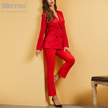 SBetro Red Double Breasted Placket Blazer And Flare Leg Pants Set Autumn Fashion