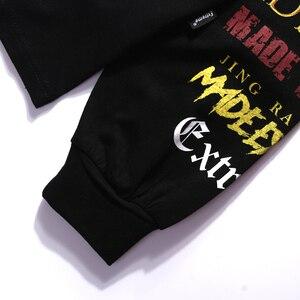 Image 4 - Hommes à manches longues T Shirt Harajuku Streetwear rétro coloré lettre impression T Shirt Hip Hop 2019 été hauts T Shirt noir coton