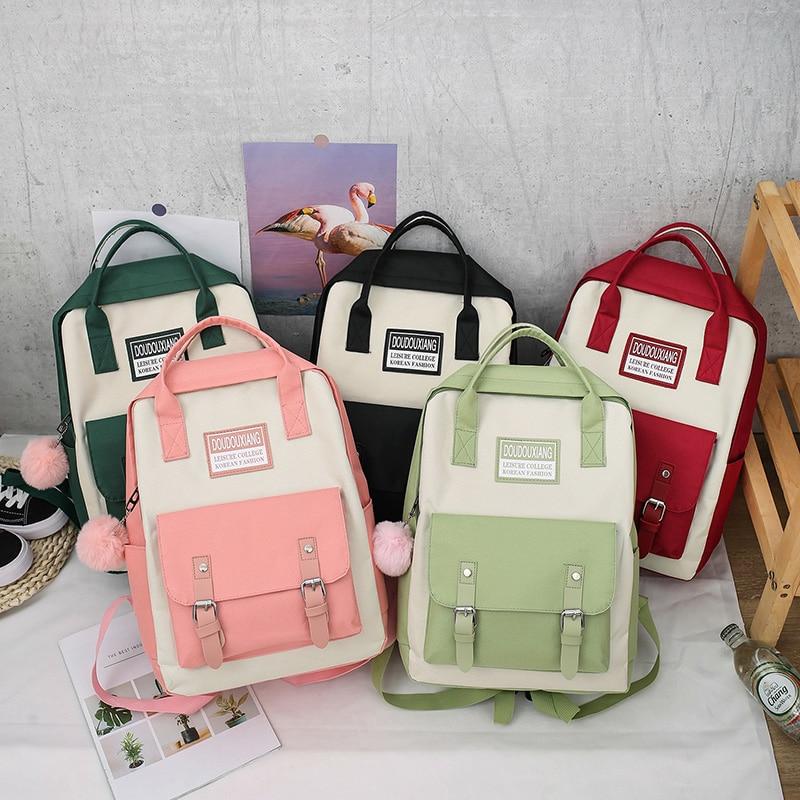 2020 New Canvas Female Book Bag Backpack 5pcs/set Schoolbag School Bag Travel Pack Fashion Tassel Women Teenage Teenagers Girl 6