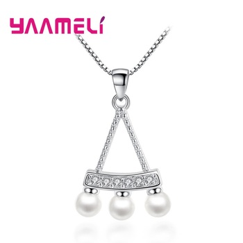 Women Fine 925 Sterling Silver Crystal Pearl Pendant Necklaces for Wedding Engagement Anniversary Gifts Fashion Accessory