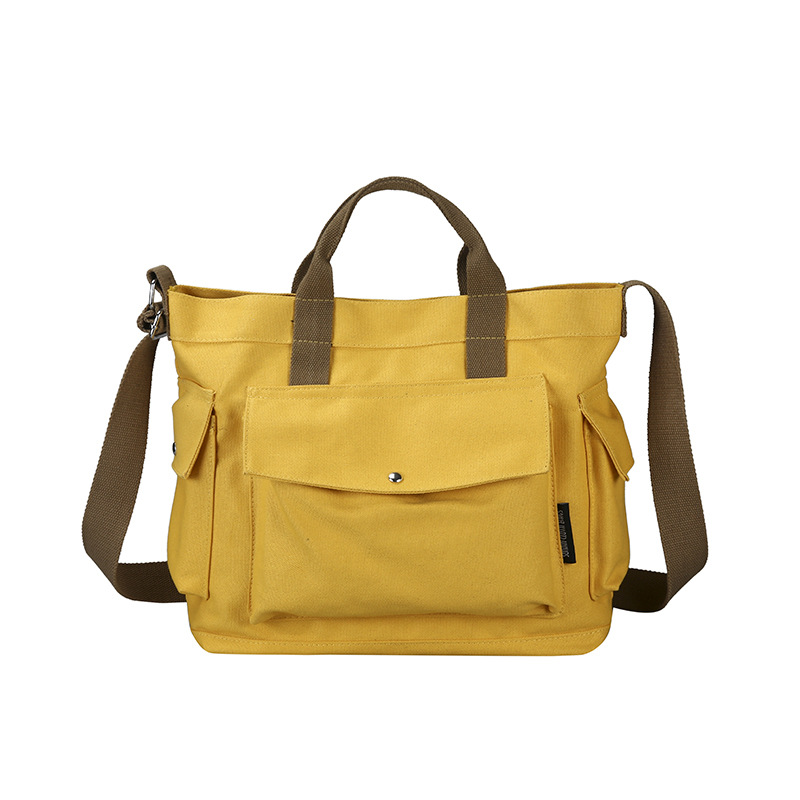 Retro Multi-pocket Canvas Casual Messenger Bag Wild Student Simple Literary Portable Postman Women Bag Shoulder Bags