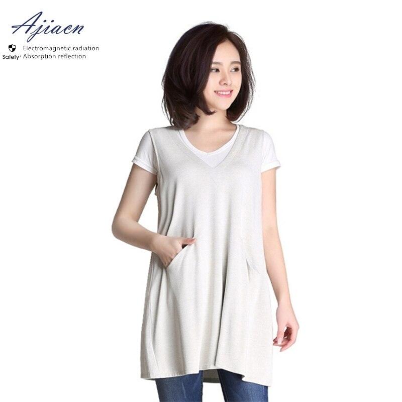 Ajiacn Electromagnetic radiation protective 100% silver fiber dress EMF shielding V-neck pregnant woman clothing