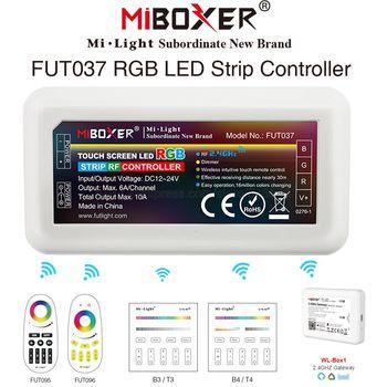 Miboxer 4 strefy inteligentny listwy RGB LED kontroler FUT037 DC12V 24V 10A wsparcie 2 4G zdalnego sterowanie przez WiFi pracy z listwy RGB LED tanie i dobre opinie veromount RGB 4-Zone controller Wifi Compatible with Wifi Hub Plastic ROHS 12-24 v