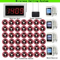Retekess 무선 호출 시스템 호출 고객 서비스 수신기 호스트 + 4pcs 시계 수신기 + 신호 중계기 + 42pcs 통화 버튼