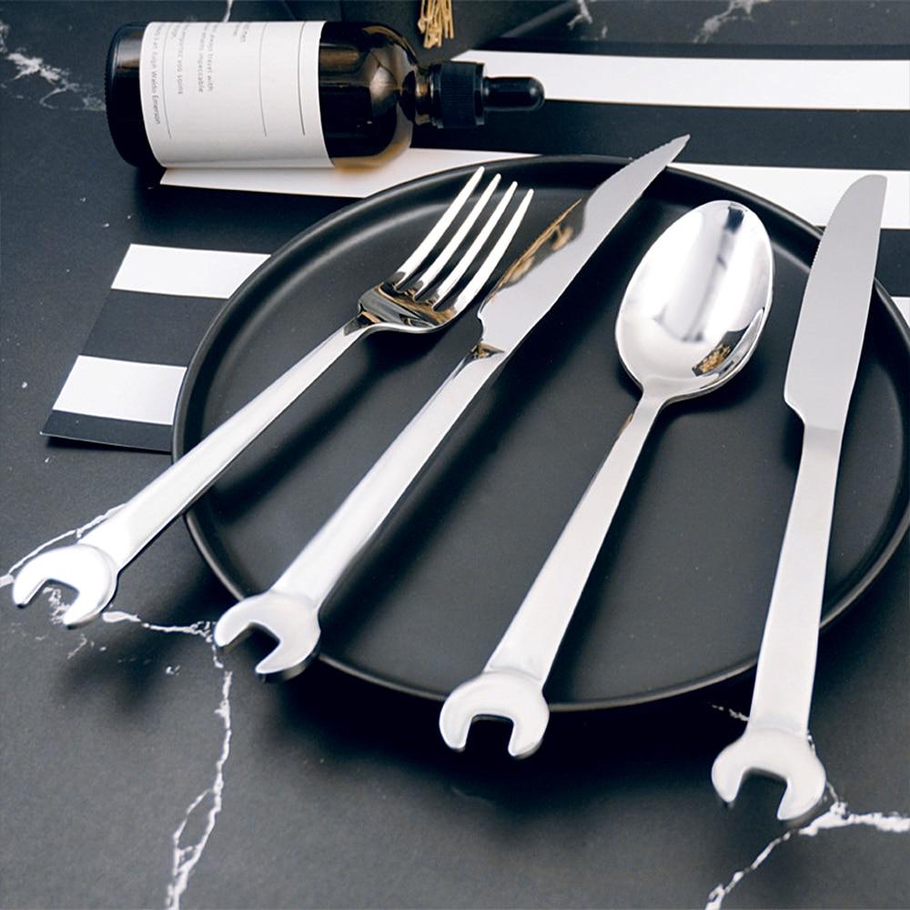 126.58руб. 36% СКИДКА|Нержавеющая сталь творческий в форме гаечного ключа вилка, ложка, посуда нож для стейка ужин фруктовый десерт длинные вилки чайная ложка Пикник Кемпинг|Вилки| |  - AliExpress