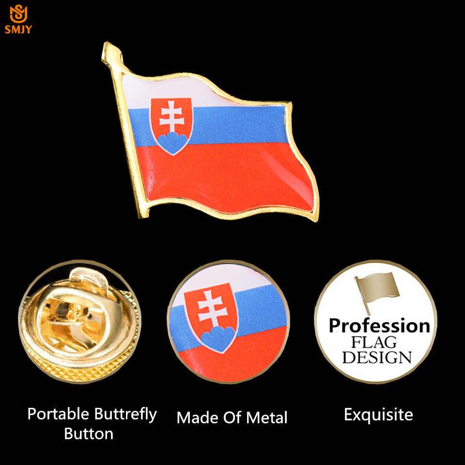 اليورو معدن مطلي بالذهب الخبز تذكارية شارة سلوفاكيا العلم الوطني بروش التلبيب ارتداء دبوس مجموعة مجوهرات