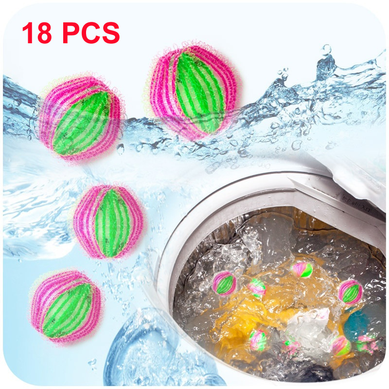 18PCS Hair Removing Magic Decontamination Cleaning Laundry Balls Clothes Winding Unhair Washing Balls For Washing Machine