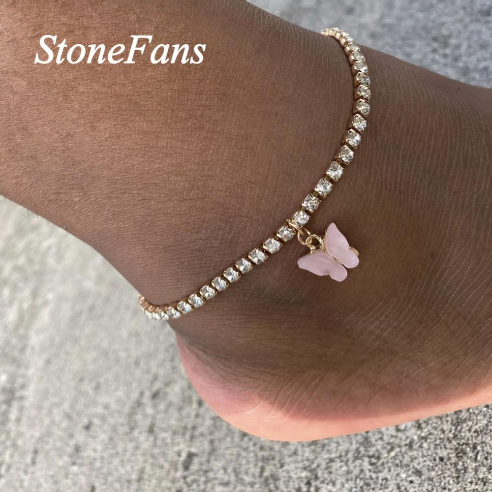 Stonefans Simple Rhinestone Chain Butterfly Charm Anklet For Women Statment Butterfly Pendnat Anklet Beach Foot Chain Bracelet