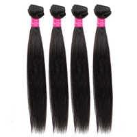 QueenLike cheveux produits 4 paquets cheveux brésiliens armure paquets Non Remy 100% cheveux humains trame brésilienne cheveux raides faisceaux