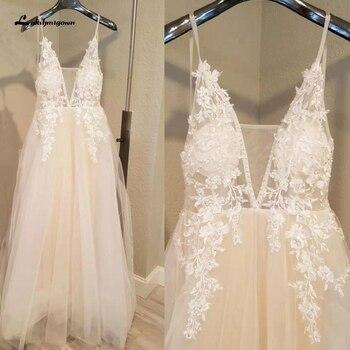 Lakshmigown Sexy Bridal Boho Wedding Dress Spaghetti Straps Summer Beach 2020 Trouwjurk Mariage Gown Lace Bead Open Back - discount item  35% OFF Wedding Dresses