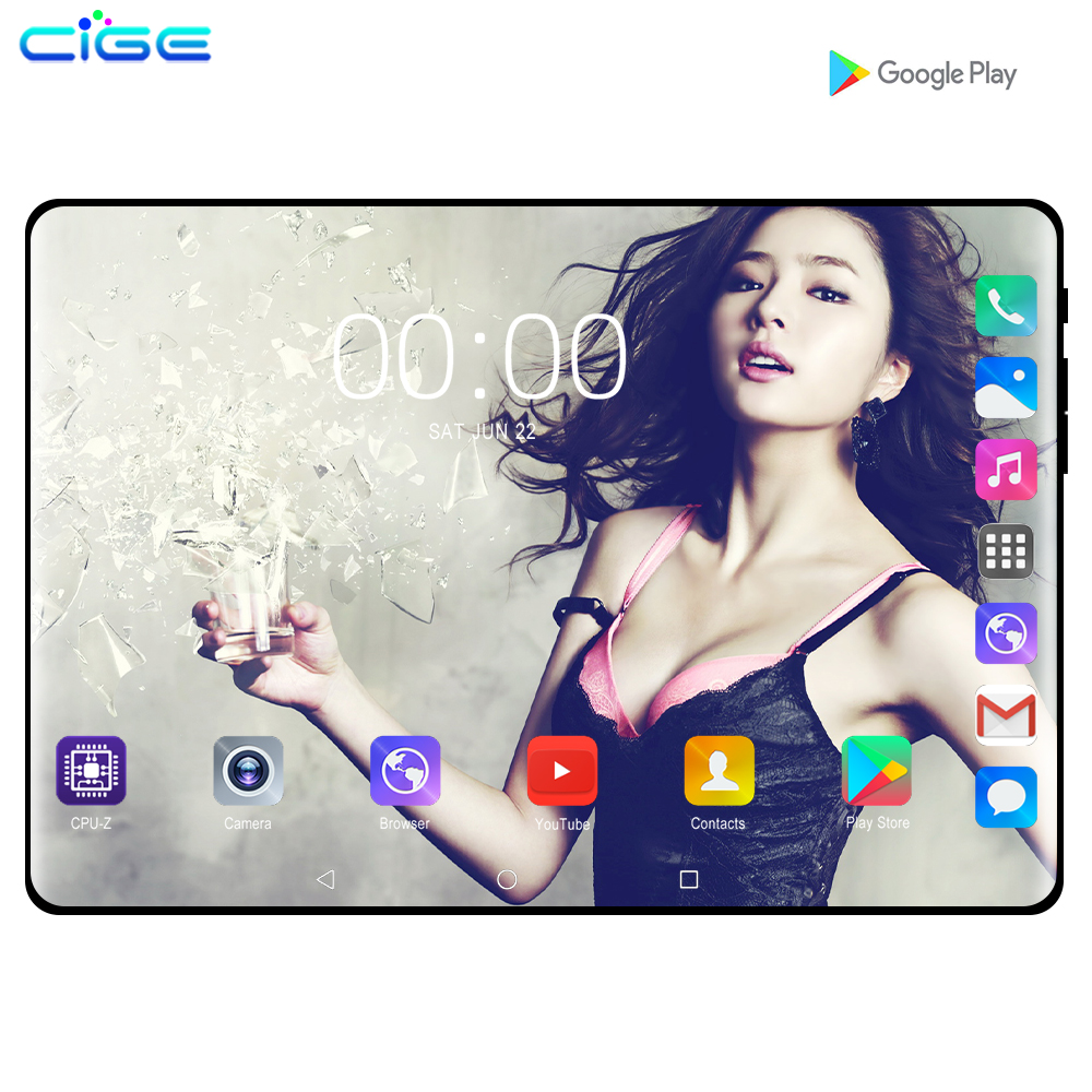 CIGE Mx960 10.1 Inch Tablet PC Android 9.0 6GB RAM 128GB ROM 4G Lte Phone Call Tablets Dual SIM Camera  Tablet GPS FM WIFI