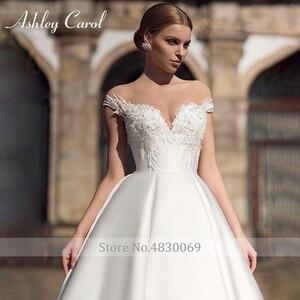 Image 3 - Ashley carol vestido de casamento de cetim elegante 2020 a linha fora do ombro rendas acima da noiva querida apliques vestidos de noiva do vintage