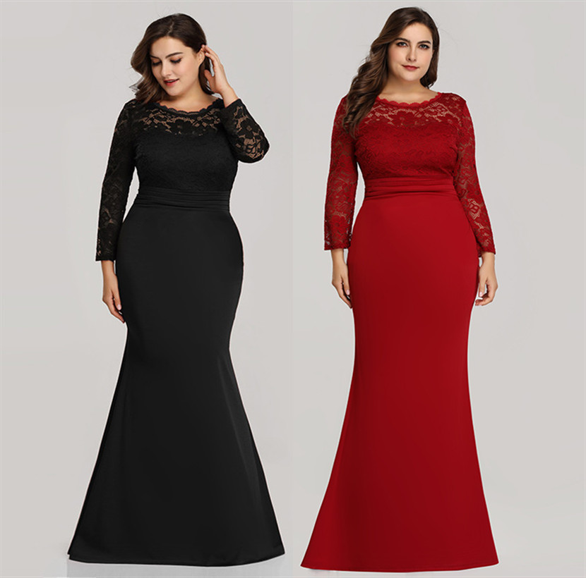 Mermaid Plus Size Floor-Length   Evening     Dress   2020 New Fall Lace Scoop   Dress   Zipper-up   Dress   for Party