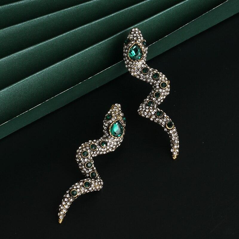 Женские длинные серьги-подвески JUJIA в стиле панк, ювелирные украшения в европейском стиле с зелеными кристаллами, подарки для девушек