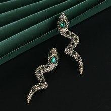 Atacado jujia punk longos brincos de cobra para as mulheres jóias de cristal verde europeu brincos de gota presentes da menina