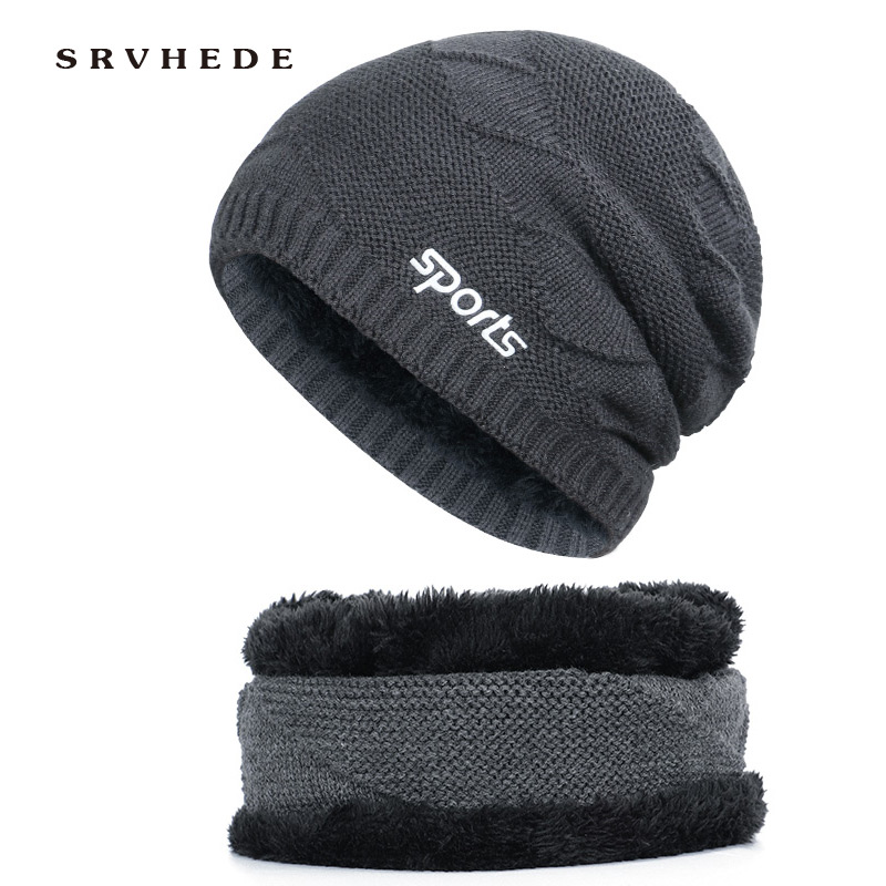 Hats Scarf 2 Pieces Hot Sell Winter Cashmere Hat Scarf Set Men Solid Color Warm Cap Scarves Male Neutral Outdoor Accessories