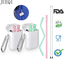 Collapsible Silicone Straw Fodable Reusable Metal Telescopic Drinking Straws for Travel Outdoor Kitchen Bar Accessories
