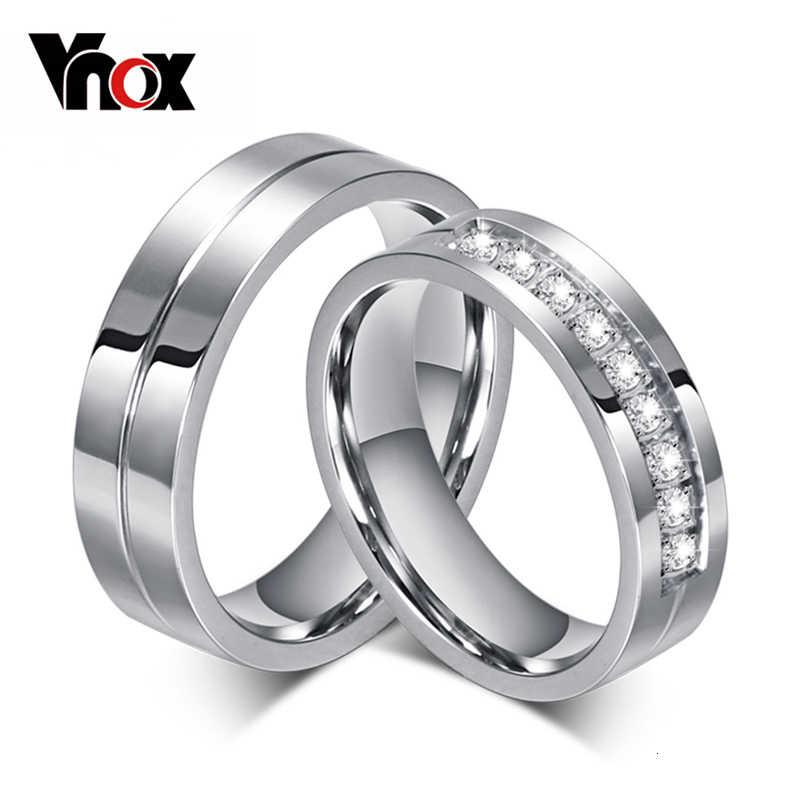 Vnox CZ נישואים אירוסין טבעות לזוגות נשים גברים 316l נירוסטה חובבי אישית מתנת יום נישואים