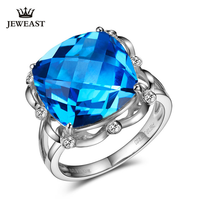 SLFD Natural topaz 18K Pure Gold 2020 New Hot Selling Top Ring Women Heart Shape Ring  For Ladies  Woman Genuine Jewelry