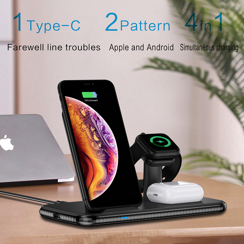 15W 4 In 1 Fast QI Wireless <font><b>Charger</b></font> For iPhone 11 Pro Max XS XR X 8 Plus Dock Station Holder <font><b>Charger</b></font> For Watch <font><b>5</b></font> 4 3 AirPods Pro image