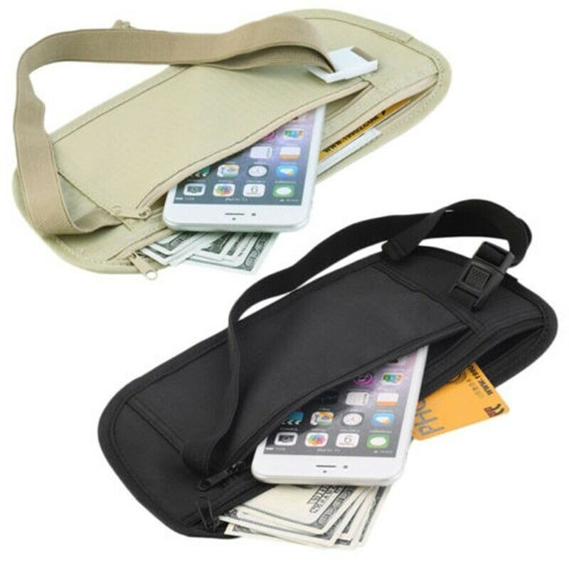 New Unisex Travel Waist Pouch For Passport Money Hot Belt Bag Hidden Security Wallet Black  Waist