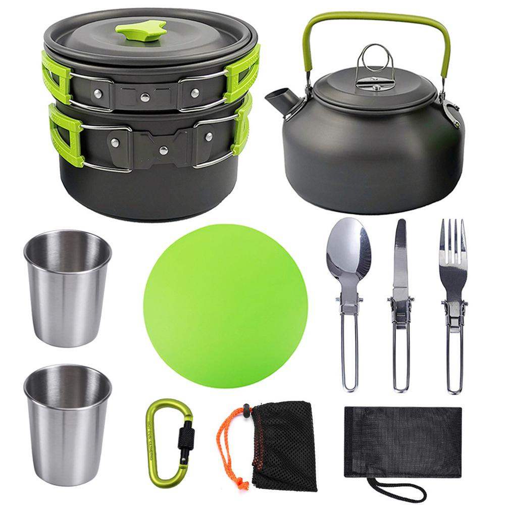 10Pcs//Set Portable Camping Cookware Kit Outdoor Picnic Hiking Cooking Equipment
