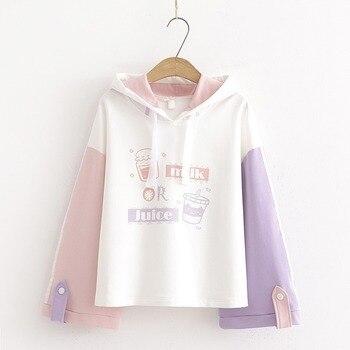 Harajuku Kawaii TeenGirl Hoodies Cute Cat Cartoon Women Sweetshirts Hoody Sweatshirt Mori Vintage Striped Fashion Sweet Clothes