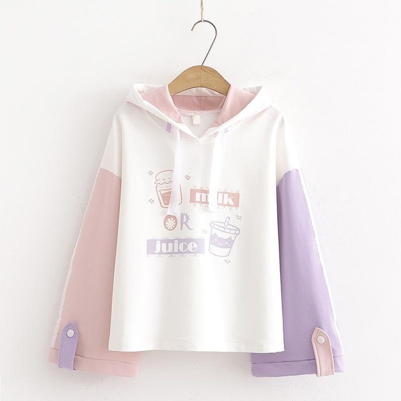 Harajuku Kawaii Teens Girl Hoodies Cute Milk Cat Cartoon Women Hoody Sweatshirt Mori Vintage Striped Fashion Sweet Clothes