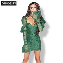 nuevo otoño Mini vestido de vendaje de encaje mujeres sin espalda Sexy señoras Vestidos Vintage ceñido vestido de fiesta Vestidos elegantes Vestido de fiesta vestido de fiesta de manga larga ajustado verde al por mayor