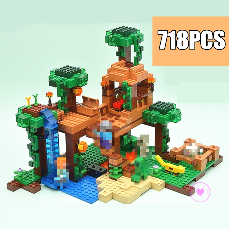 New The Jungle Tree House city fit minecrafted figures city Building Blocks bricks kids boys gift