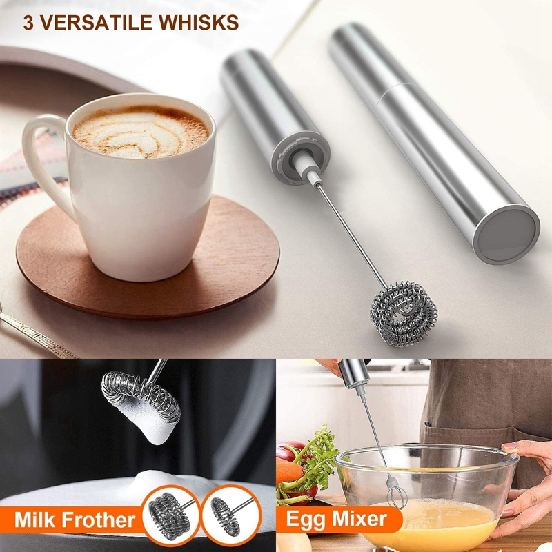 Milk Frother Handheld Three-Layer of Whisk- Battery Operated Electric Foam Maker for Coffee, Cappuccino, Hot Chocolate