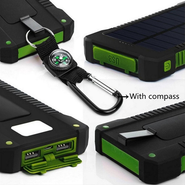 TOP Solar Power Bank 30000mAh Solar Charger External battery Waterproof Solar Powerbank for xiaomi iphone huawei  with LED Light 2
