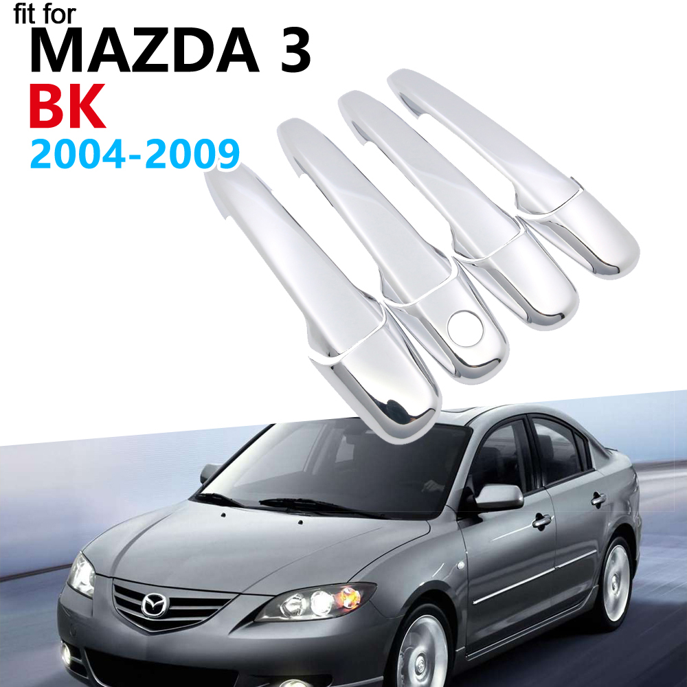 Luxurious Chrome Handle Cover Trim Set for <font><b>Mazda</b></font> <font><b>3</b></font> BK Sedan Hatch MPS <font><b>2004</b></font> 2005 2006 2007 2008 2009 Accessories Car Stickers image