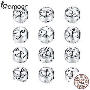 Vintage 925 Sterling Silver Aquarius Star Sign Zodiac Beads Charms fit Bracelets DIY Twelve Constellations SCC1218(China)
