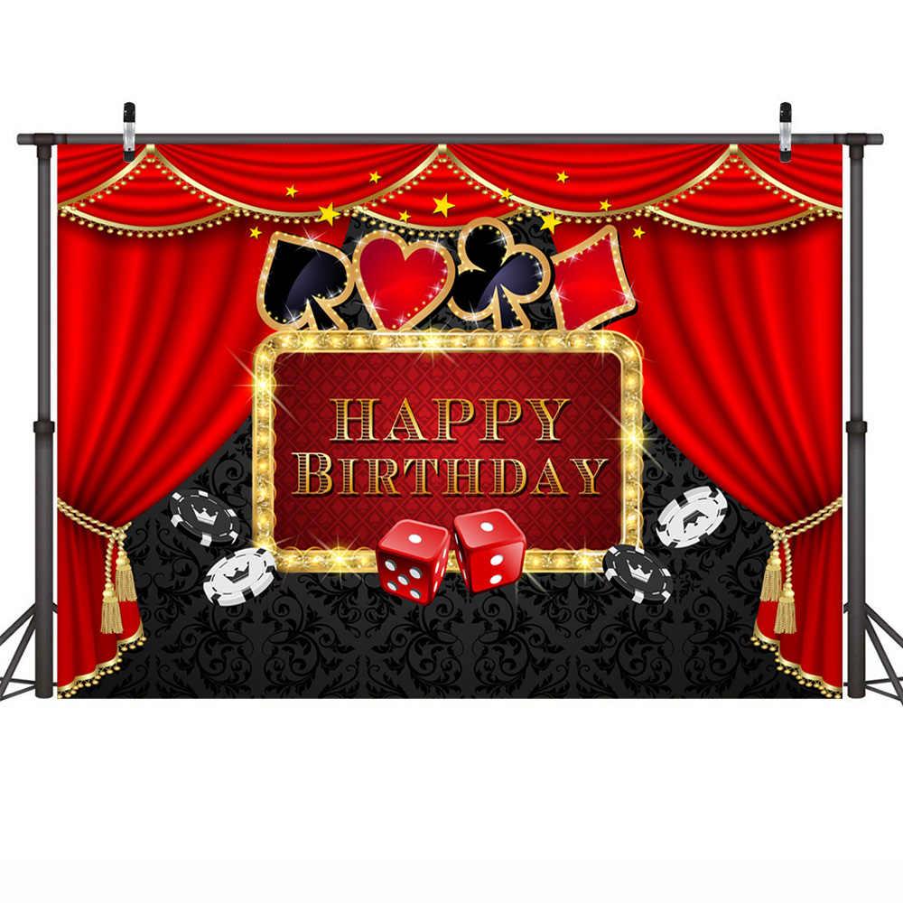 Kasyno fotografia imprezowa zdjęcie tła Studio wszystkiego najlepszego z okazji urodzin na przyjęcie deser stół tło Poker czerwona kurtyna Photocall rekwizyty