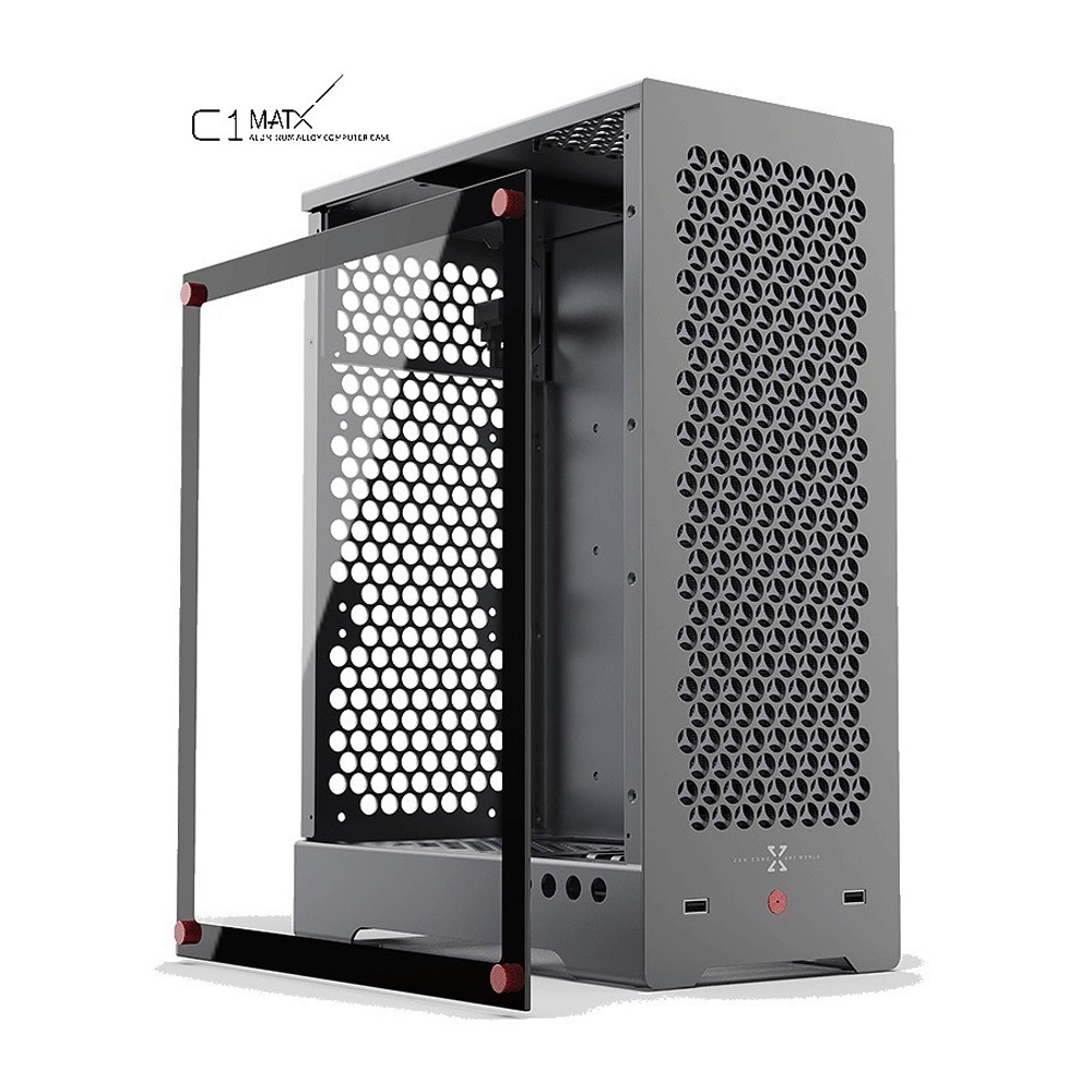 ZZAW C1 MATX Computer Case Aluminum Alloy Chassis ATX Power Supply 240 Water Cooled Long Graphics Card Tempered Glass Side Panel