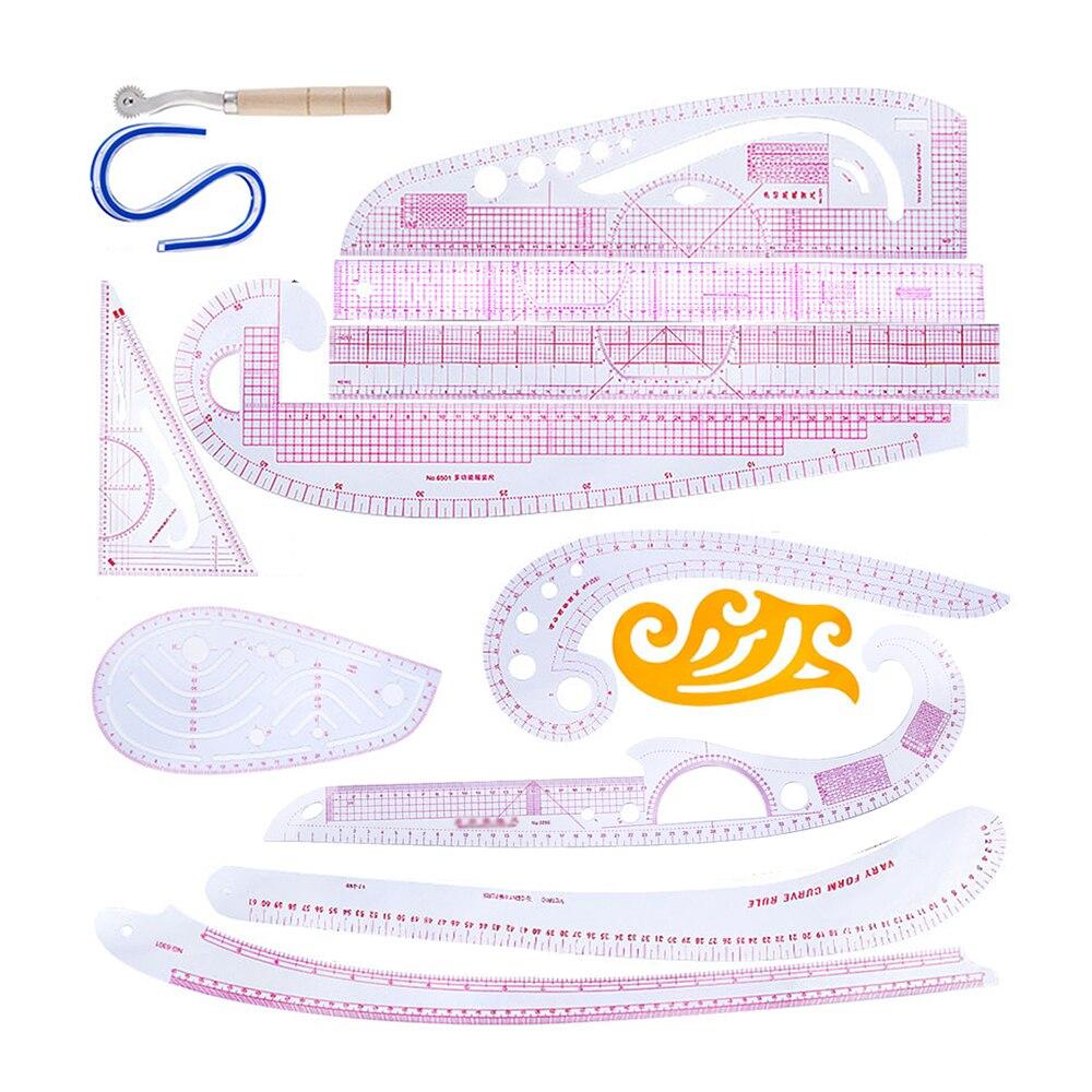 Бытовая швейная линейка, набор швейных линейки, французская изогнутая линейка, аксессуары, пластиковая изогнутая линейка с узором для семь...