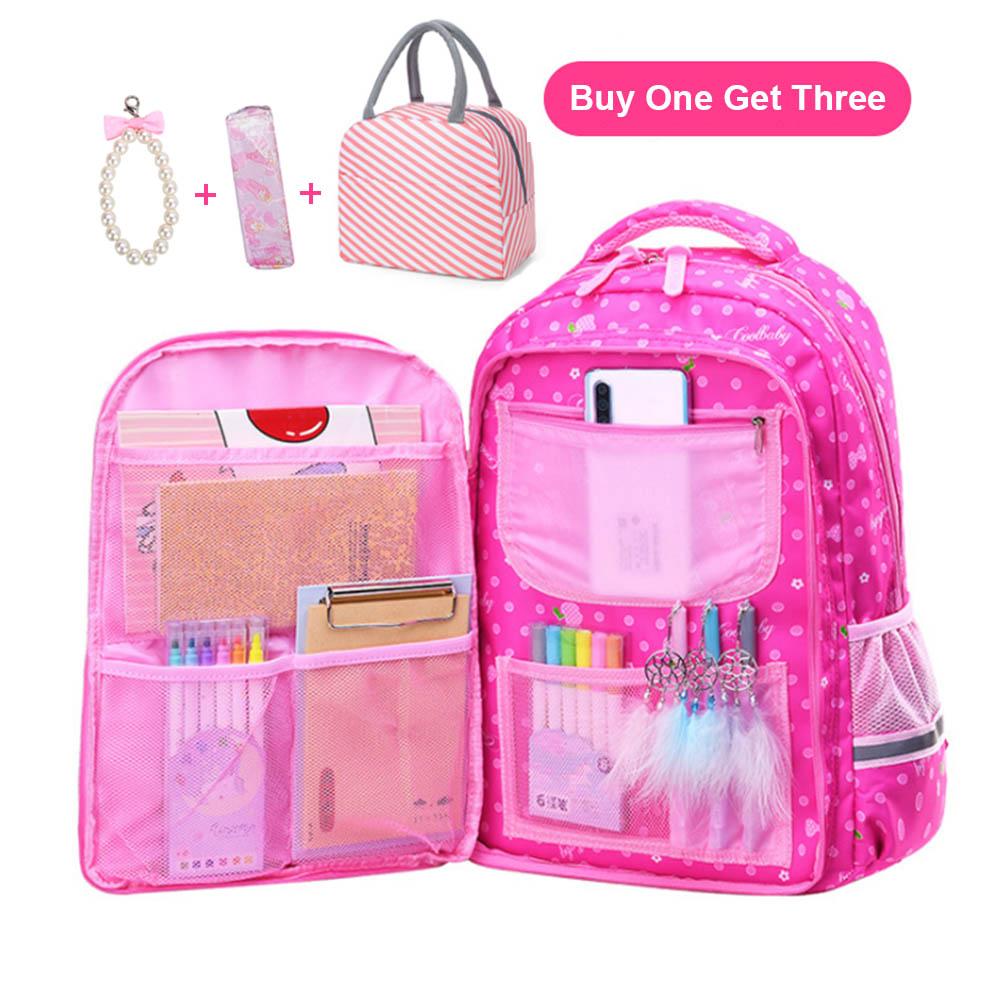 New 2020 Girl Dot Printed Primary Middle Bookbag Waterproof School Backpacks For Girls Kids Elementary School Bags Children Gift