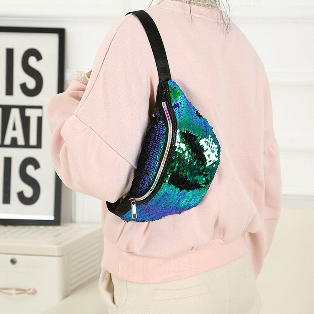 Women Reversible Mermaid Sequins Travel Waist Fanny Pack Holiday Money Belt Wallet Glitter Bum Bag Pouch Red Green Purple