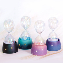 Creative Resin Lucky Star Luminous Hourglass Decoration Colorful Glass Sand Timer Room Gift G