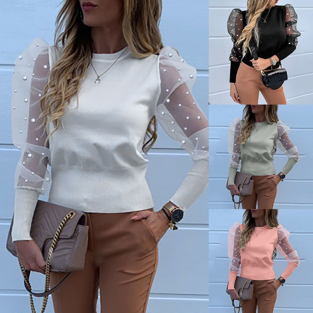 Women Fashion Long Sleeve Pearl Round Neck Mesh Blouse Hubble Rendering Unlined Upper Garment Summer Casual Office Shirt