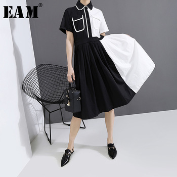 [EAM] Women Black Contrast Color Pleated Shirt Dress New Lapel Short Sleeve Loose Fit Fashion Tide Spring Summer 2020 1T747
